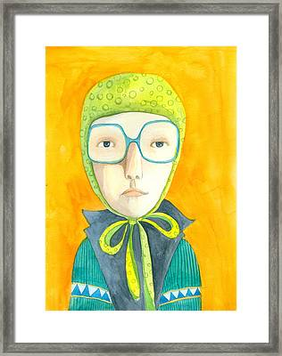 Orange Portrait With Glasses Framed Print by Jenny Meilihove