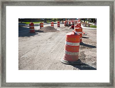 Orange Reflective Road Construction Barrels Framed Print by Thom Gourley/Flatbread Images, LLC