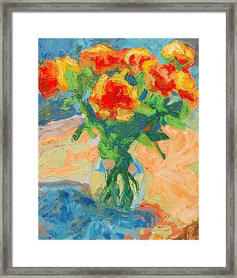 Orange Roses In A Glass Vase Framed Print