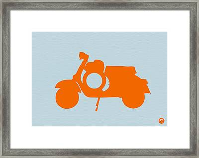Orange Scooter Framed Print by Naxart Studio