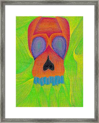Orange Skull Framed Print