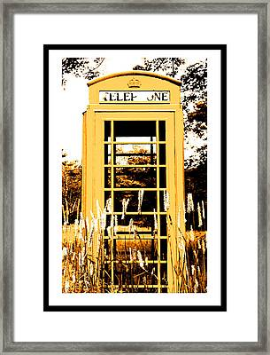 Orange Telephone Booth In The Field Framed Print