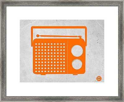 Orange Transistor Radio Framed Print by Naxart Studio