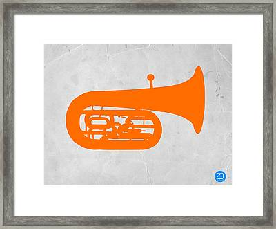 Orange Tuba Framed Print by Naxart Studio