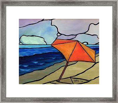 Orange Umbrella At The Beach Framed Print by David McGhee