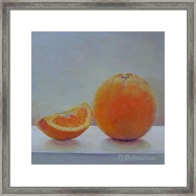 Orange Un Quart Framed Print by Muriel Dolemieux