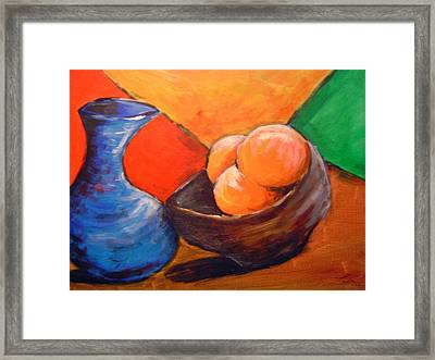 Oranges In A Bowl Framed Print by Janie Thompson-lide