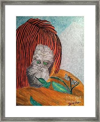 Framed Print featuring the painting Orangutan by Jasna Gopic