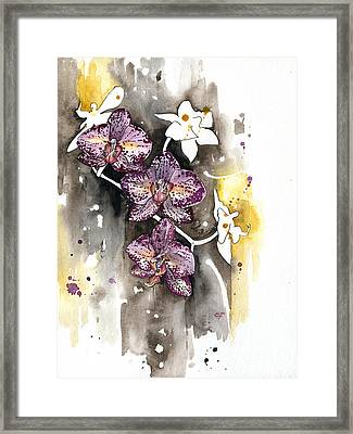 Framed Print featuring the painting Orchid 13 Elena Yakubovich by Elena Yakubovich