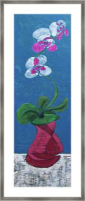 Framed Print featuring the painting Orchid Inspired Floral On Blue 1 by John Gibbs