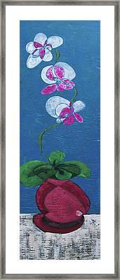Orchid Inspired Floral On Blue 2 Framed Print by John Gibbs