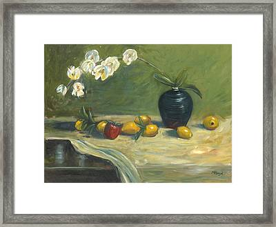 Framed Print featuring the painting Orchids And Vase by Marlyn Boyd