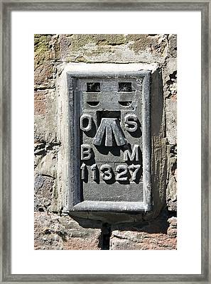 Ordnance Survey Benchmark, Uk Framed Print by Sheila Terry