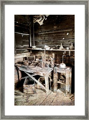 Ore Assay Shop Work Bench - Molson Ghost Town Framed Print by Daniel Hagerman