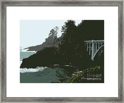 Framed Print featuring the photograph Oregon Coast Ben Jones Bridge by Glenna McRae