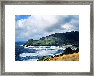 Oregon Coast Cliffs Framed Print by Elias Carlson