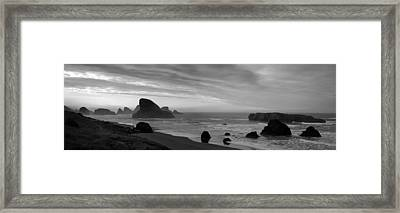 Oregon Coast Panorama Black And White Framed Print by Twenty Two North Photography