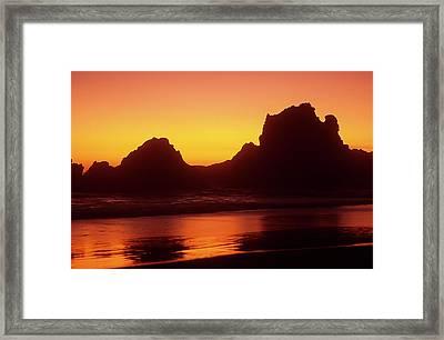 Oregon Coast Rocks Sunset Framed Print