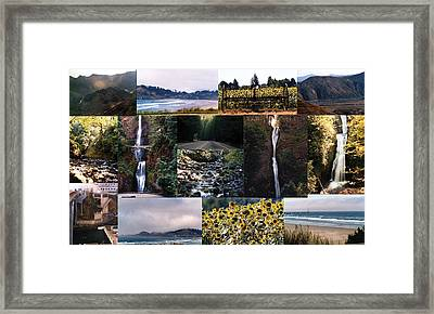 Oregon Collage From Sept 11 Pics Framed Print by Maureen E Ritter