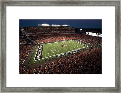 Oregon State Night Game At Reser Stadium Framed Print by Oregon State University