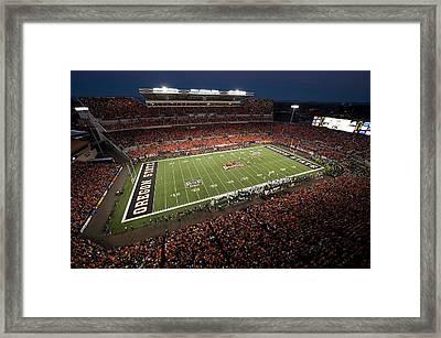 Oregon State Night Game At Reser Stadium Framed Print