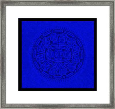 Oreo In Blue Framed Print by Rob Hans