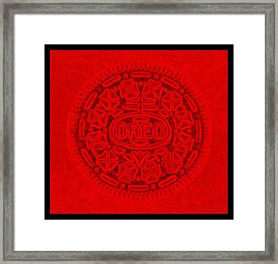 Oreo In Red Framed Print by Rob Hans