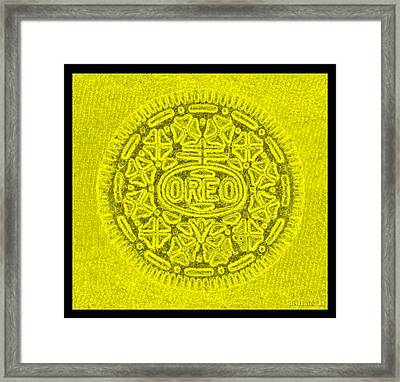 Oreo In Yellow Framed Print by Rob Hans