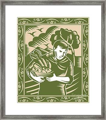 Organic Farmer With Basket Harvest Crops Retro Framed Print