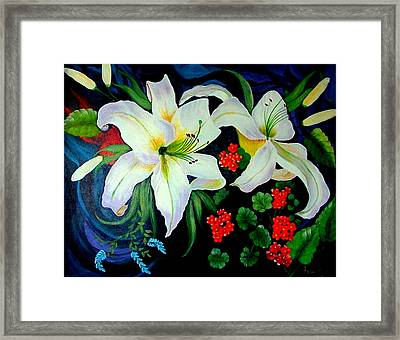 Framed Print featuring the painting Oriental Lily by Fram Cama
