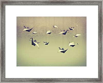 Origami Birds Framed Print