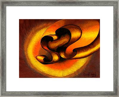 Original Abstract Orange Framed Print by Fanny Diaz