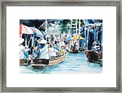 Original Hand Draw Floating Market Framed Print by Theeravat Boonnuang