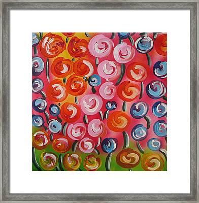 Original Modern Impasto Flowers Painting  Framed Print
