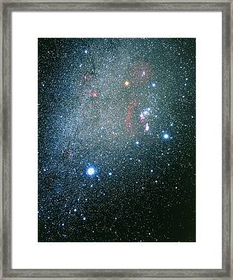 Orion, Canis Major & Monoceros Constellations Framed Print by Luke Dodd