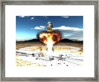 Orion-drive Spacecraft Using Atomic Framed Print by Rhys Taylor