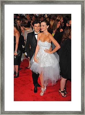 Orlando Bloom, Miranda Kerr Wearing Framed Print by Everett