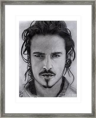 Orlando Bloom Original Pencil Drawing Framed Print