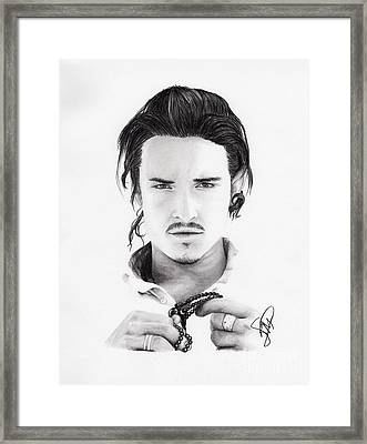 Orlando Bloom Framed Print by Rosalinda Markle