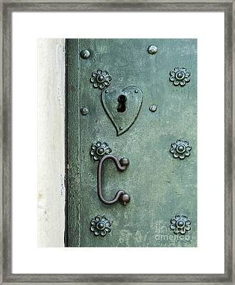 Framed Print featuring the photograph Ornamental Metal Doors In Teal by Agnieszka Kubica