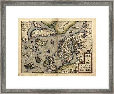 Ortelius's Map Of Northern Europe, 1570 Framed Print