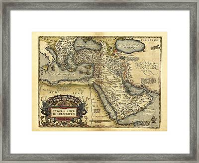 Ortelius's Map Of Ottoman Empire, 1570 Framed Print