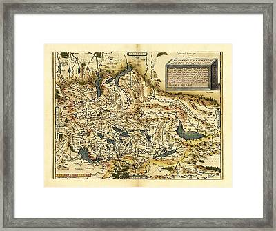 Ortelius's Map Of Switzerland, 1570 Framed Print by Library Of Congress, Geography And Map Division