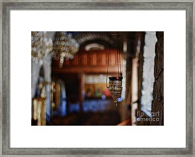 Orthodox Church Oil Candle Framed Print by Stelios Kleanthous
