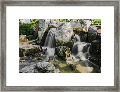 Osaka Garden Waterfall Framed Print