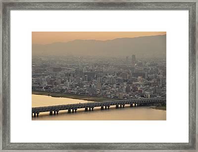 Osaka S0kyline Dawn Framed Print