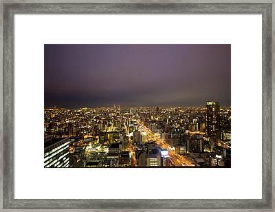 Osaka Skyline Framed Print