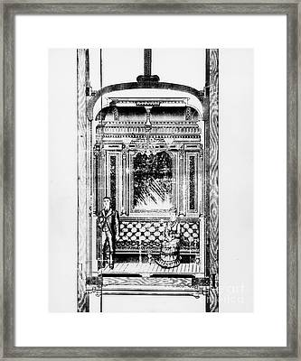 Otis Hotel Elevator, 1881 Framed Print