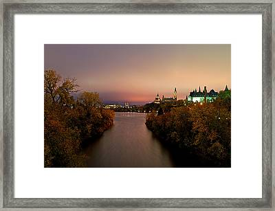 Ottawa At Night Framed Print by Andre Faubert
