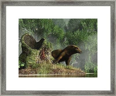 Otter By A Stump Framed Print by Daniel Eskridge